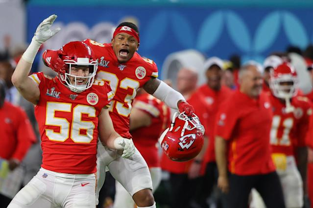 MIAMI, FLORIDA - FEBRUARY 02: Ben Niemann #56 of the Kansas City Chiefs and Armani Watts #23 of the Kansas City Chiefs celebrate after defeating San Francisco 49ers by 31 - 20 in Super Bowl LIV at Hard Rock Stadium on February 02, 2020 in Miami, Florida. (Photo by Ronald Martinez/Getty Images)