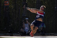 Rudy Winkler sets an American record during the finals of the men's hammer throw event at the U.S. Olympic Track and Field Trials Sunday, June 20, 2021, in Eugene, Ore. (AP Photo/Ashley Landis)