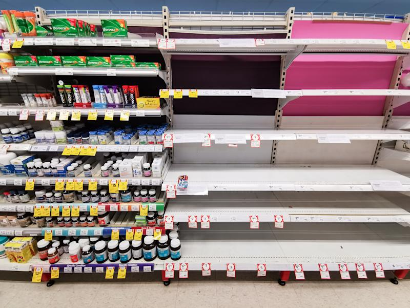 Empty shelves at Coles Supermarket,