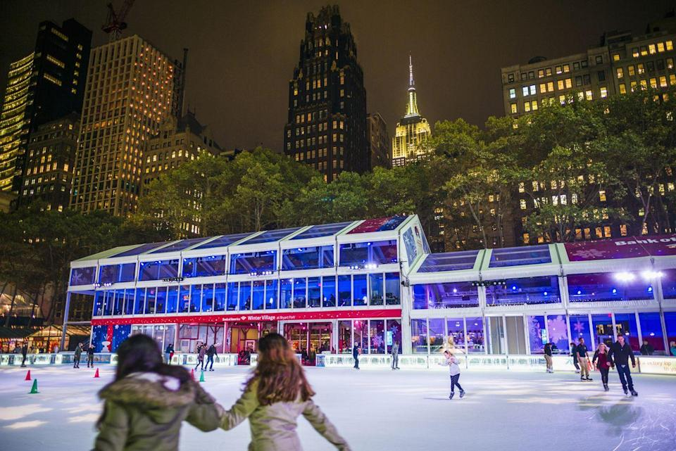 "<p>While you're at Bryant Park, don't forget to grab a pair of skates to take several laps around the free admission risk, where you can skate outdoors surrounded by holiday cheer. (This year, skating will be by timed reservation only.) Another option, of course, is the iconic <a href=""https://www.rockefellercenter.com/attractions/the-rink-at-rockefeller-center/"" rel=""nofollow noopener"" target=""_blank"" data-ylk=""slk:Rink at Rockefeller Center"" class=""link rapid-noclick-resp"">Rink at Rockefeller Center</a> (open 9 a.m. to 12 a.m.), where you'll be able to skate under the famous Christmas tree! <br></p>"