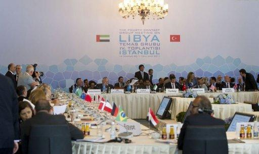 The opening of the fourth meeting of the Libya contact group in Istanbul. Western and regional powers on Friday boosted Libyan rebels battling Moamer Kadhafi by designating them as the country's legitimate rulers, a move that gives them access to vital funds