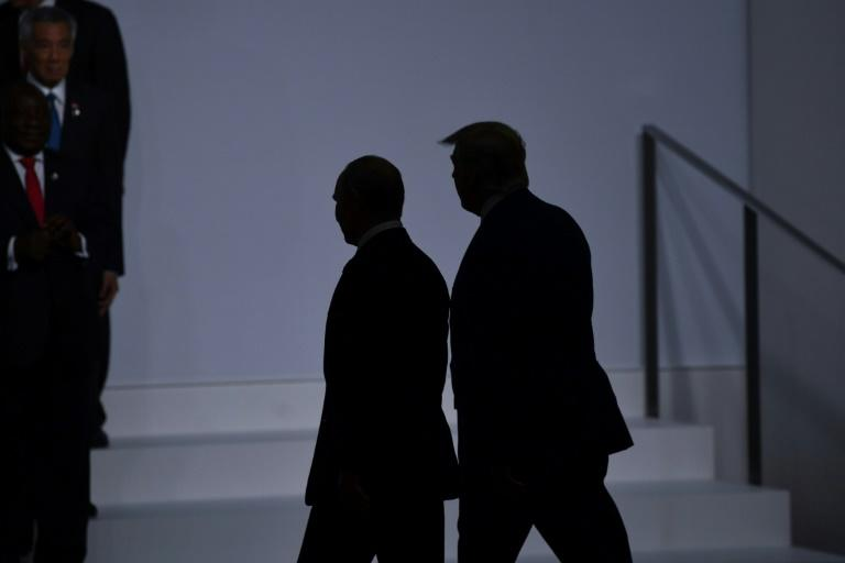 Russian President Vladimir Putin has thanked US President Donald Trump for intelligence that helped foil the attack; pictured are Trump and Putin at the G20 Summit in Osaka on June 28, 2019
