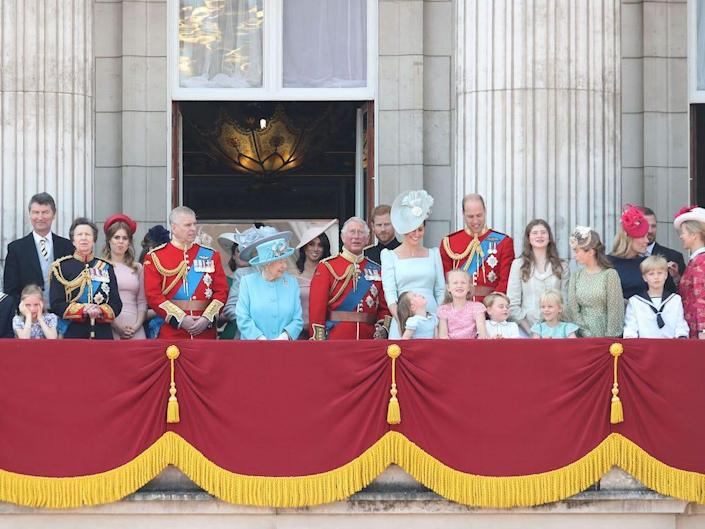 The royal family at Trooping the Colour in 2018.