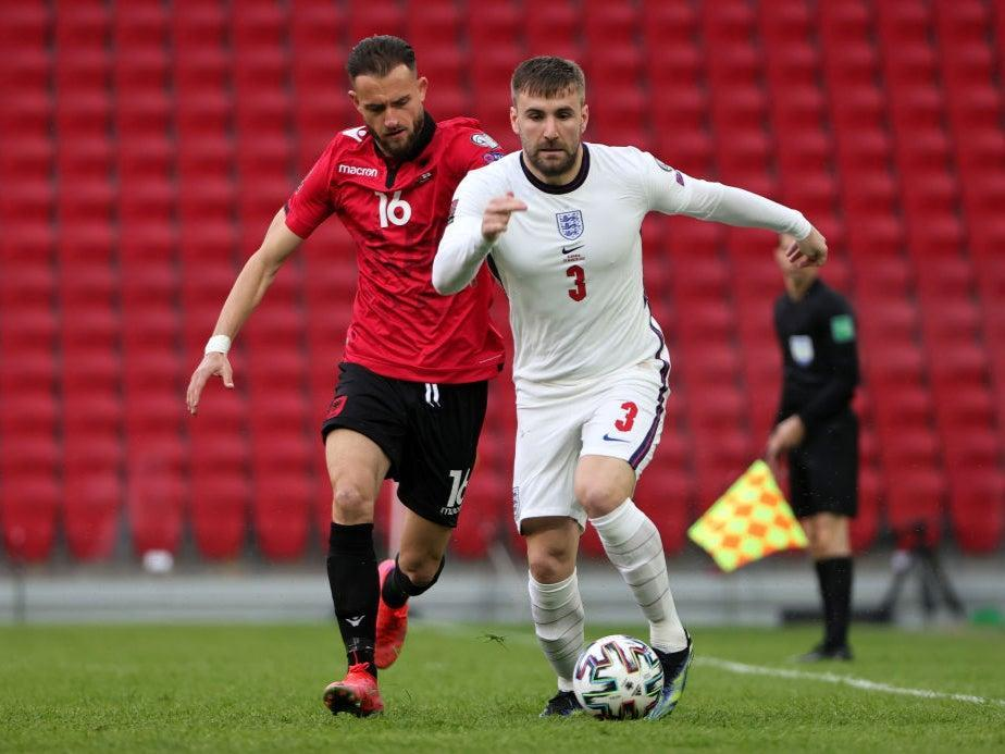 Shaw recorded an assist during England's victory over Albania on SundayThe FA via Getty Images