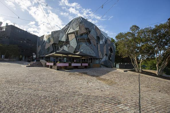A deserted Federation Square in the heart of the city in Melbourne.