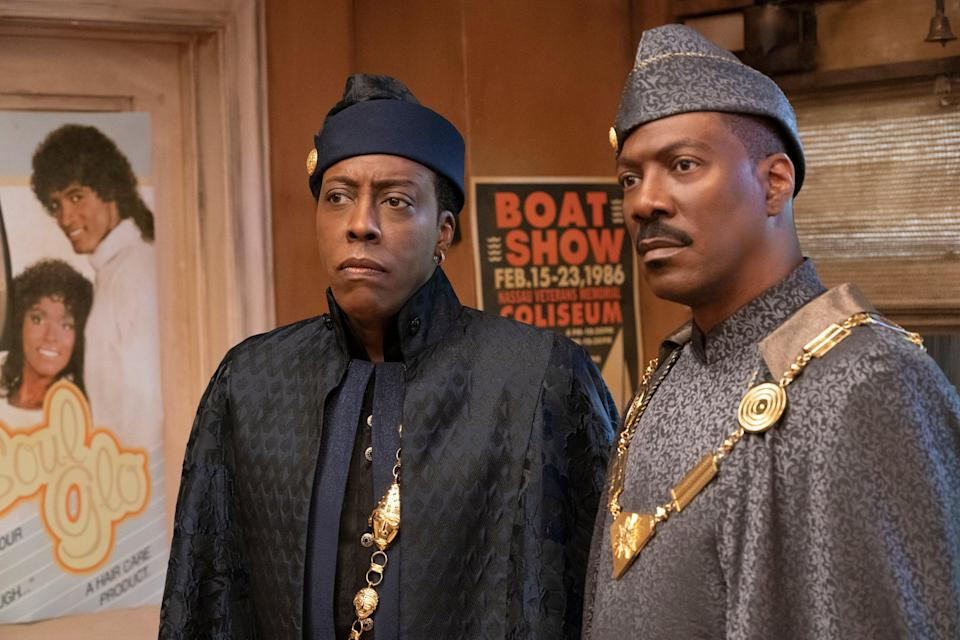 Eddie Murphy and Arsenio Hall are as buoyant as ever as Akeem and his aide SemmiAmazon Studios