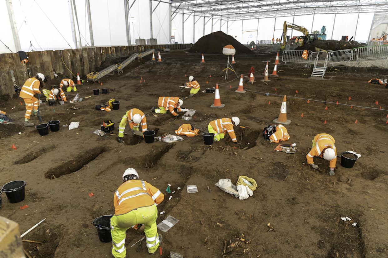 Workers on the A63 are helping to excavate the site.