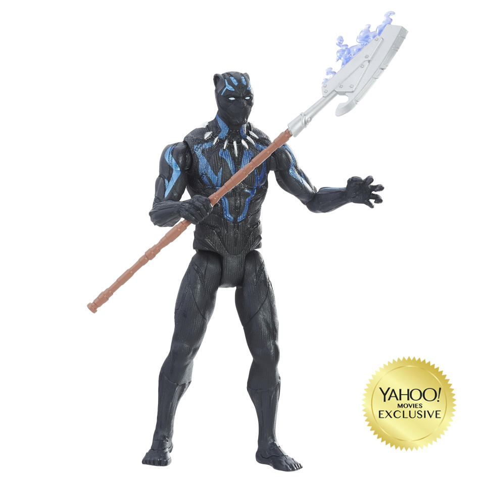 <p>Unlike the Panther costume we saw in <em>Captain America: Civil War</em>, this version seems supercharged with Vibranium. (Photo: Hasbro) </p>
