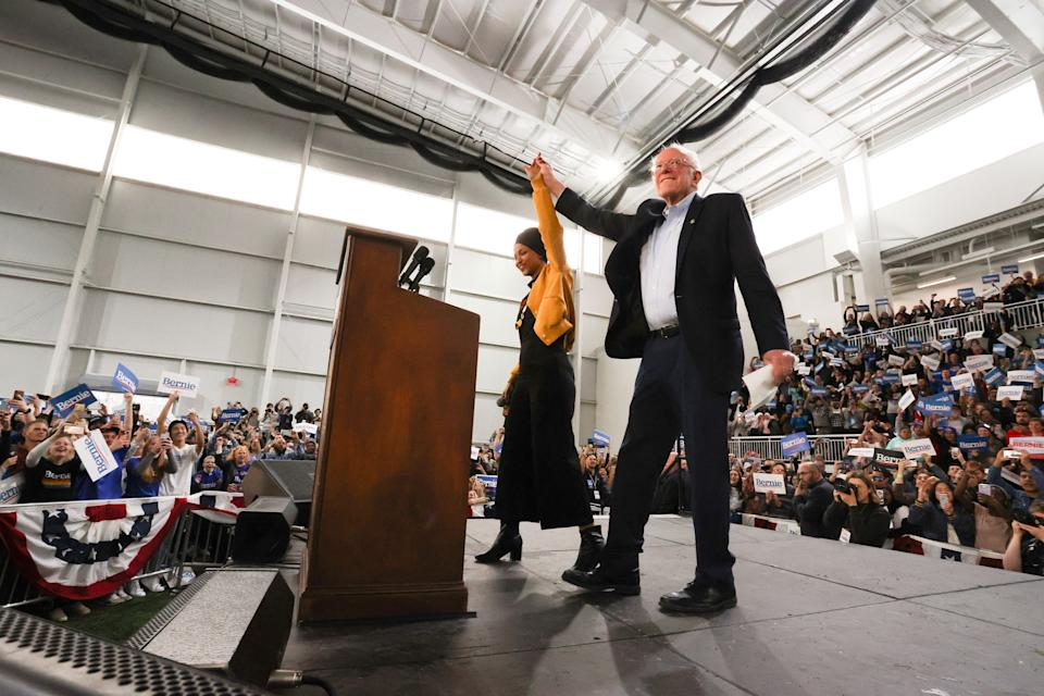 Sen. Bernie Sanders takes the stage Saturday after being introduced by U.S. Rep. Ilhan Omar (D-Minn.) in Springfield, Virginia, ahead of Super Tuesday. (Photo: Jonathan Ernst / Reuters)