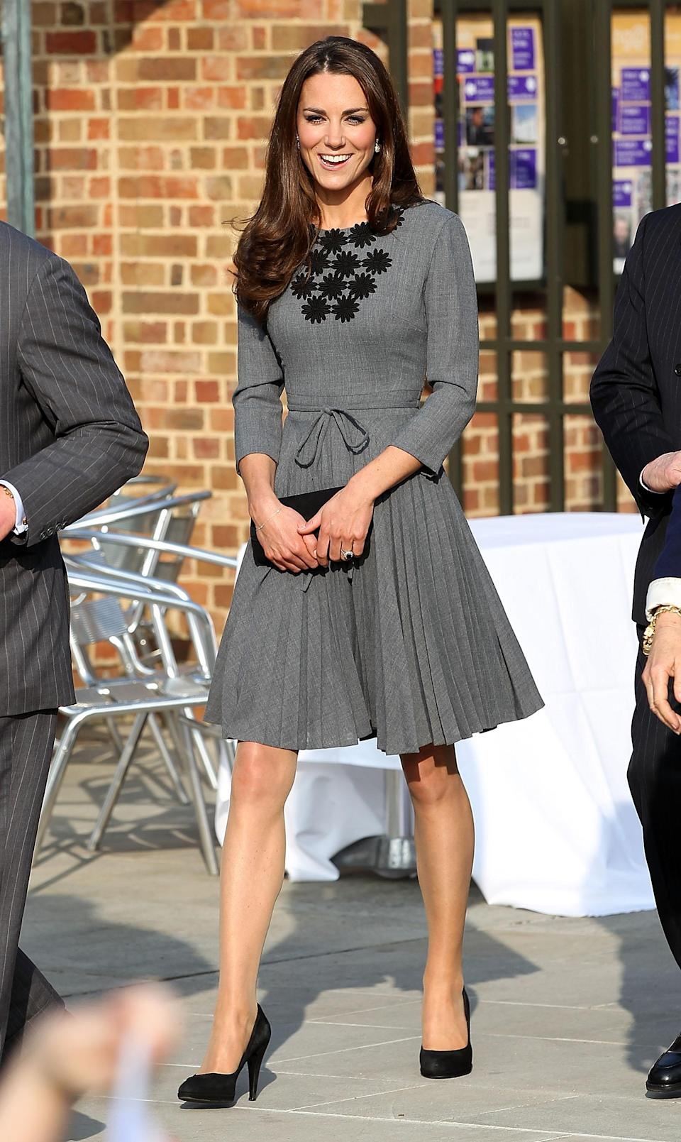 <p>The Duchess of Cambridge chose a charcoal-hued dress by Orla Kiely for a visit to the Dulwich Picture Gallery. <em>[Photo: Getty]</em> </p>