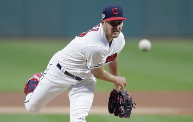 Cleveland Indians starting pitcher Trevor Bauer delivers in the first inning of the second game of a baseball doubleheader against the Atlanta Braves, Saturday, April 20, 2019, in Cleveland. (AP Photo/Tony Dejak)