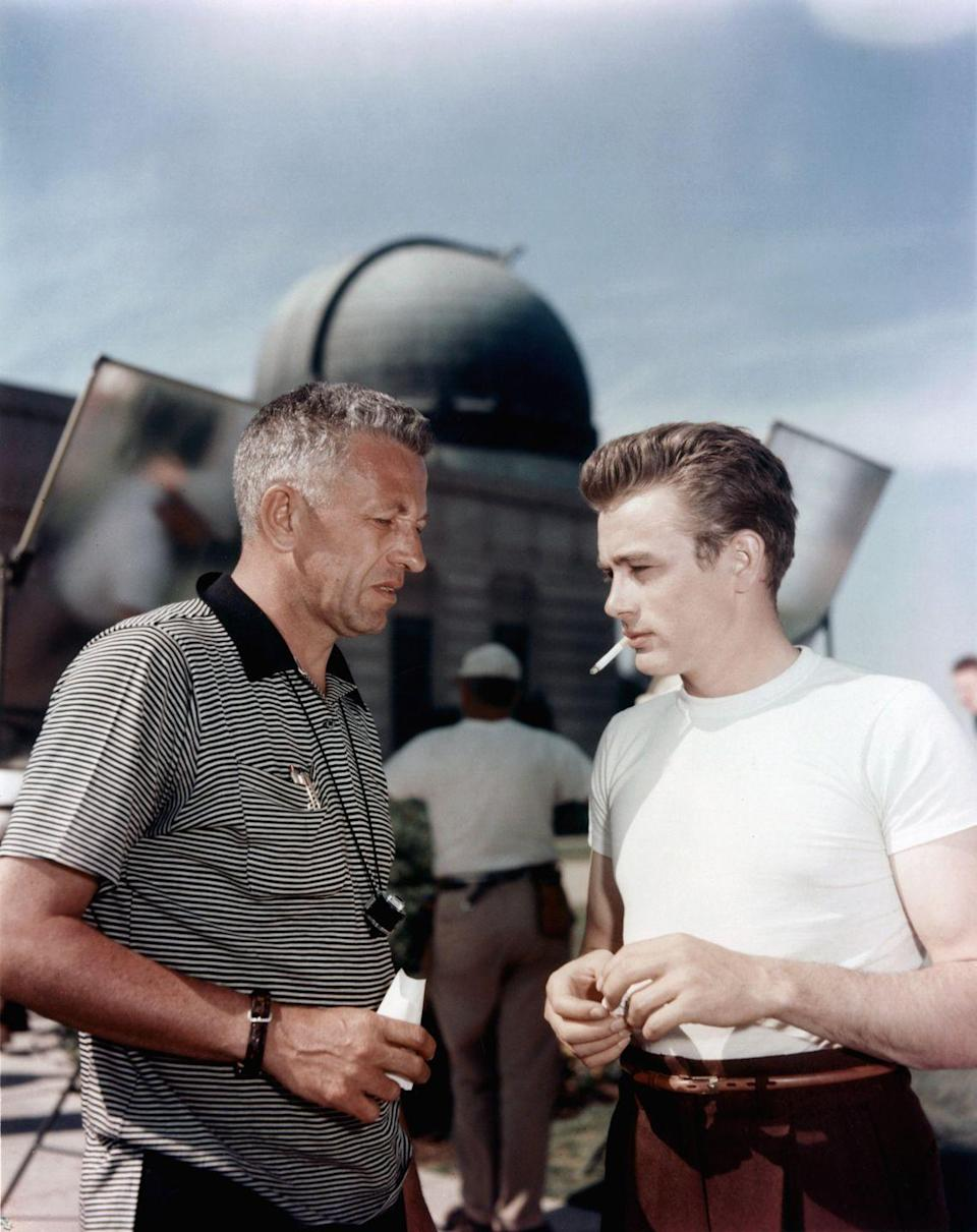 <p>Dean is seen discussing his role in <em>Rebel Without a Cause </em>on set during one of the film's most pivotal scenes with director Nicholas Ray. </p>