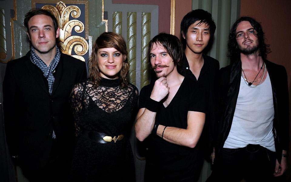 Mikel Jollett (r) and The Airborne Toxic Event in 2008 - Jeff Kravitz