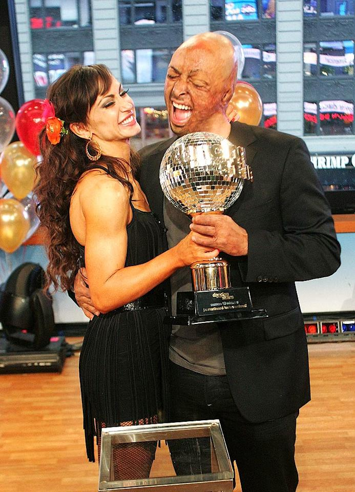 "And the winners are ... J.R. Martinez and Karina Smirnoff! America voted to make the Iraq vet-turned-actor and the pro ballroom dancer the latest ""Dancing With the Stars"" champs on Tuesday. The duo beat out Rob Kardashian and Cheryl Burke, as well as Ricki Lake and Derek Hough. J.R. and Karina celebrated their win the following morning with a visit to  ""Good Morning America,"" and brought their well-deserved mirror-ball trophy with them. (11/23/2011)"