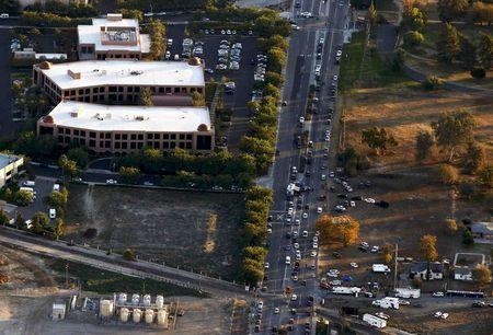 The Inland Regional Center complex is pictured in an aerial photo following a shooting incident in San Bernardino, California December 2, 2015. REUTERS/Mario Anzuoni