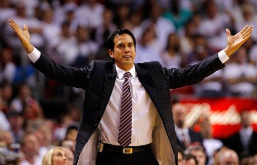The NBA fined Miami coach Erik Spoelstra $25,000 for critical public comments