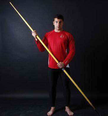 "Turkish javelin thrower and Olympic hopeful Fatih Avan, 23, poses for a picture in Ankara May 29, 2012. Avan made the world's second best throw of 2012 but the Olympic Games have a special place in his heart. ""I may have become an elite athlete with my good performances but I can only be a great athlete if I can win an Olympic medal,"" he says. Avan complements his rigorous training schedule with a nutritional program which gives him a daily intake of 3500 kcal. His diet is mainly protein-based. ""A good diet is essential for power. A correct and consistent diet proves its value in my training,"" he says."