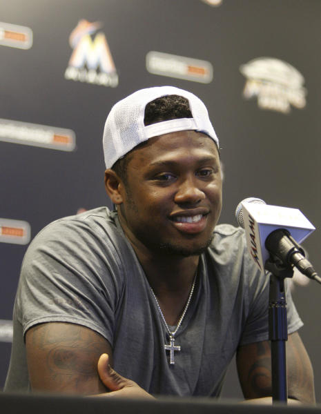 Former Miami Marlins third baseman Hanley Ramirez speaks during a news conference where he talked about his trade, Wednesday July 25, 2012, in Miami. The Los Angeles Dodgers have worked out a multiplayer trade to acquire the former NL batting champion from Miami, the second big deal in as many days for the disappointing Marlins. (AP Photo/Wilfredo Lee)