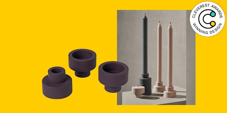 Modern 2-in-1 Silicone Candle Holder Trio by Blomus Some nights call for elegant pillar candles, others for low-key tea lights. These two-sided vessels can hold either, and they're stackable for easy storage (or for when you want an extra dramatic tablescape). $34 for three, food52.com