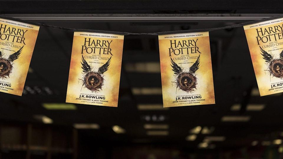Mandatory Credit: Photo by Stephen Chung/Lnp/Shutterstock (5810145j)A banner hangs outside Waterstones bookshop in Harrow'Harry Potter and the Cursed Child: Part one and Part two' book launch, London, UK - 31 Jul 2016.