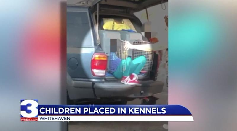Woman drove with 2 children in pet kennels, arrested