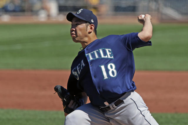 Seattle Mariners starting pitcher Yusei Kikuchi delivers during the first inning of a baseball game against the Pittsburgh Pirates in Pittsburgh, Thursday, Sept. 19, 2019. (AP Photo/Gene J. Puskar)