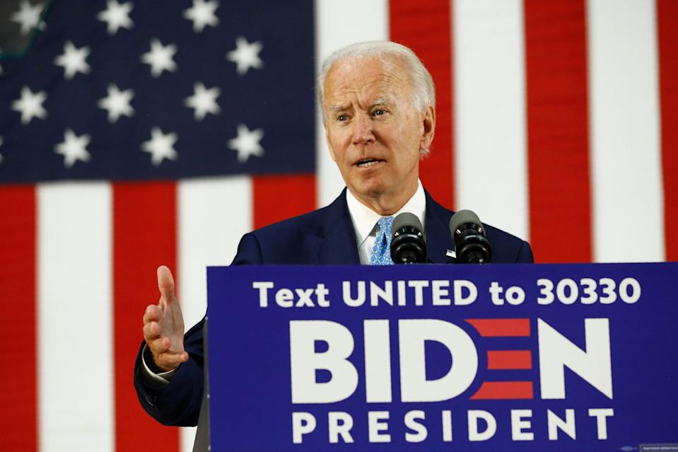 Democratic presidential candidate, former Vice President Joe Biden speaks at Alexis Dupont High School in Wilmington, Delaware, June 30, 2020.