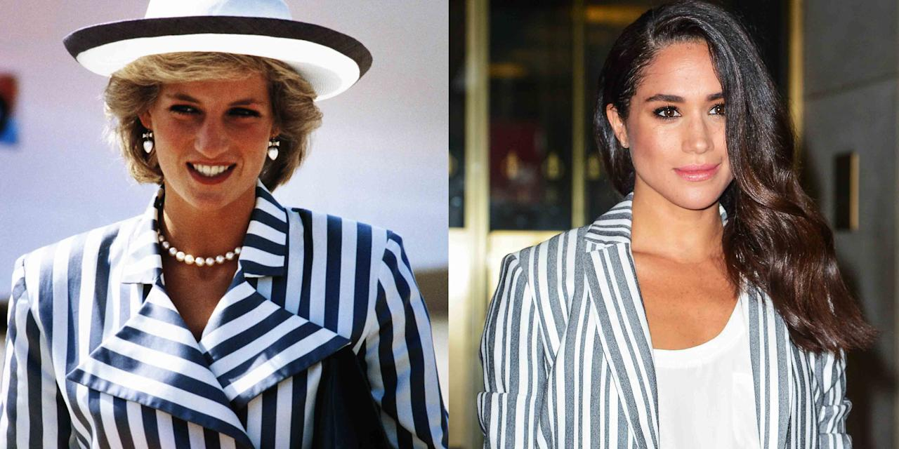 "<p>Meghan Markle and Princess Diana have a strong connection where their style is concerned. On more than one occasion, the Duchess of Sussex has channeled the late royal's revered sense of fashion, wearing similar colors and garments. In fact, as fate would have it, Meghan actually dressed in a similar style to Diana since way before she even met Prince Harry. (We have photographic evidence.) Check out all the times these two fashionable ladies have matched and then, if you want more twinning moments, check out this gallery of  <a href=""https://www.marieclaire.com/fashion/g22652573/pippa-middleton-kate-middleton-matching-outfits/"" target=""_blank"">Kate Middleton and her sister Pippa</a> twinning. The sisters are pros at this.</p>"
