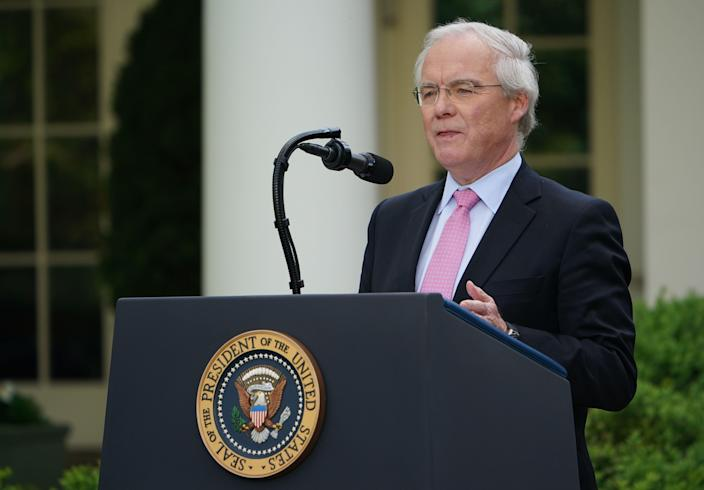 <p>Kroger CEO, Rodney McMullen, speaks during a news conference with President Donald Trump on the coronavirus at the White House on April 27, 2020. He is accused of awarding himself a $22.4m bonus whilst cutting worker pay during the pandemic</p> (Getty)