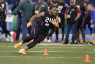 Arizona State running back Demario Richard runs a drill at the NFL football scouting combine in Indianapolis, Friday, March 2, 2018. (AP Photo/Michael Conroy)