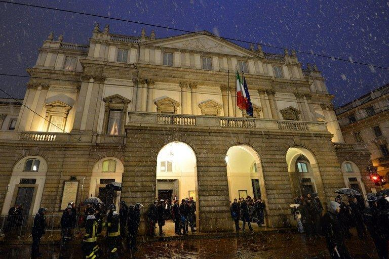 Guests arrive on opening night at La Scala opera house