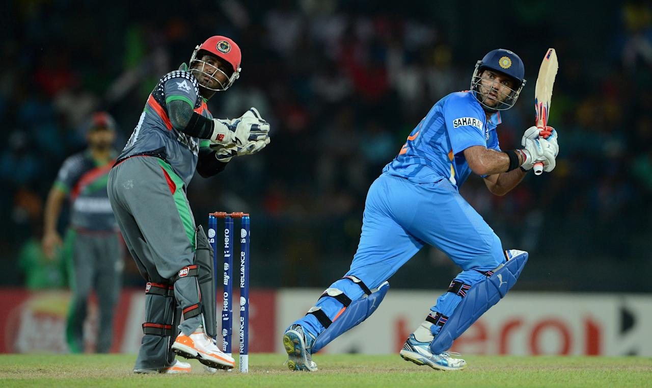 COLOMBO, SRI LANKA - SEPTEMBER 19:  Yuvraj Singh of India bats during the  ICC World Twenty20 2012: Group A match between India and Afghanistan at R. Premadasa Stadium on September 19, 2012 in Colombo, Sri Lanka.  (Photo by Gareth Copley/Getty Images,)
