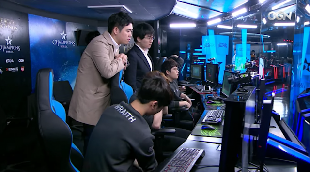 Samsung Galaxy in the booth after their loss to KT Rolster (Twitch/OnGameNet)