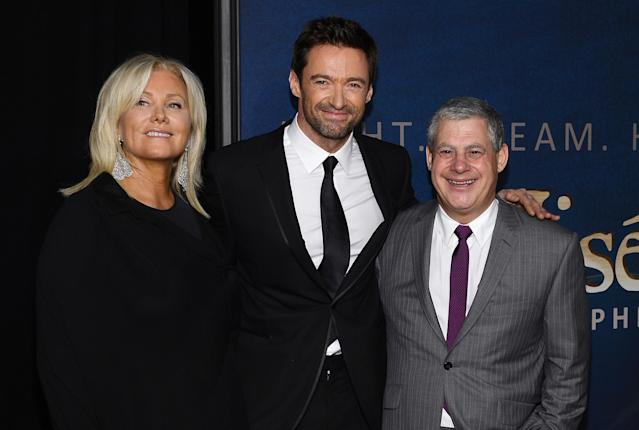 "NEW YORK, NY - DECEMBER 10: (L-R) Deborra-Lee Furness, Hugh Jackman, and Cameron Mackintosh attend the ""Les Miserables"" New York Premiere at Ziegfeld Theater on December 10, 2012 in New York City. (Photo by Larry Busacca/Getty Images)"