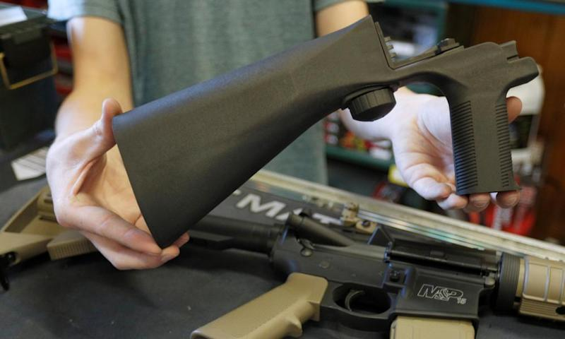 A bump fire stock that attaches to an semi-automatic assault rifle at a gun shop in Utah.
