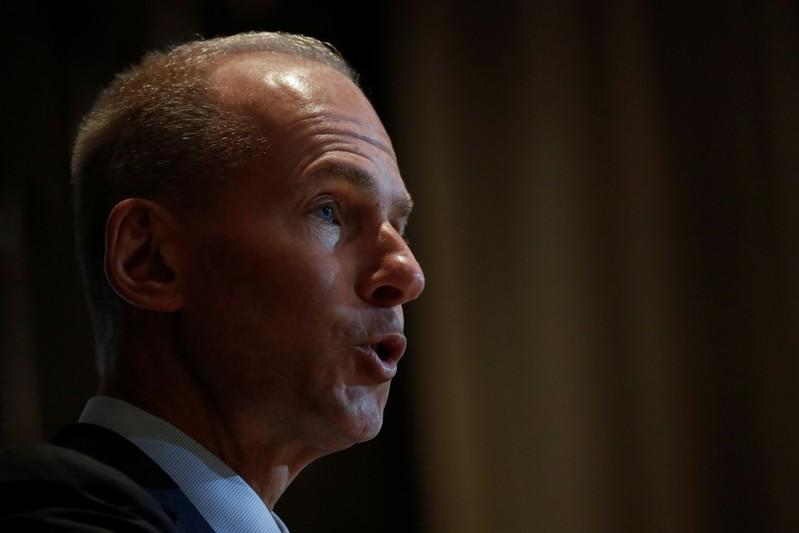 Boeing Chairman, President and CEO Dennis Muilenburg  speaks at the New York Economic club luncheon in New York City