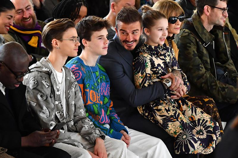 The Beckham family attend Victoria's London Fashion Week Show, 2020 (Getty Images)
