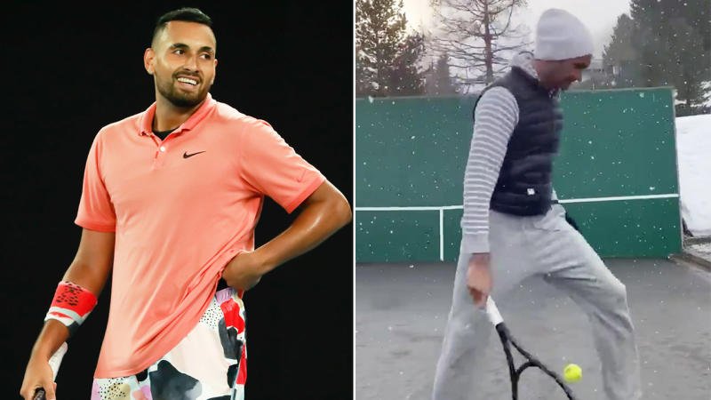 Nick Kyrgios (pictured left) smiling after a tennis point and Roger Federer (pictured right) playing tennis in the snow.