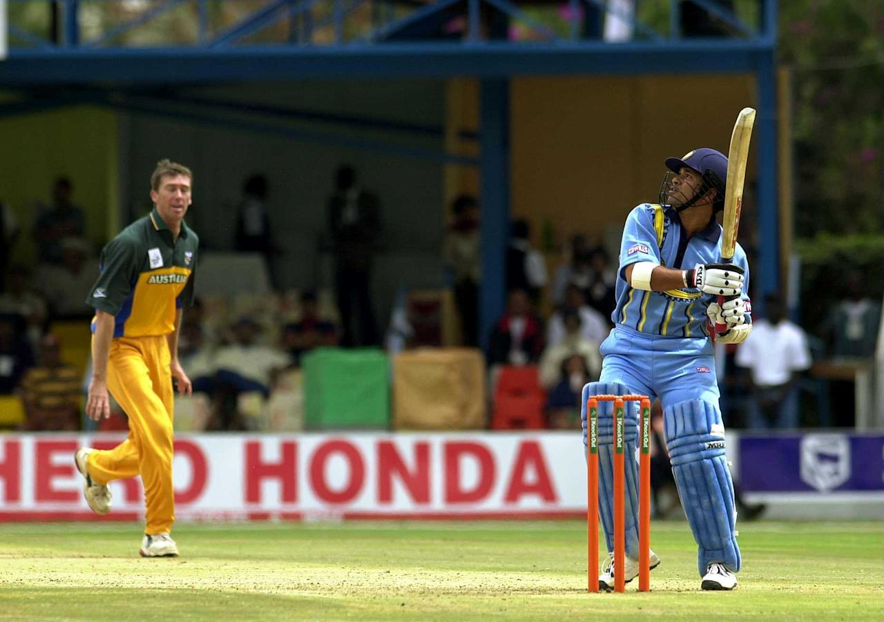 7 Oct 2000:  Sachin Tendulkar of India hits a six off the bowling of Glen McGrath of Australia during the ICC Knockout Tournament second round match between India and Australia at the Gymkhana Club Ground, Nairobi, Kenya. Mandatory Credit: Tom Shaw/ALLSPORT