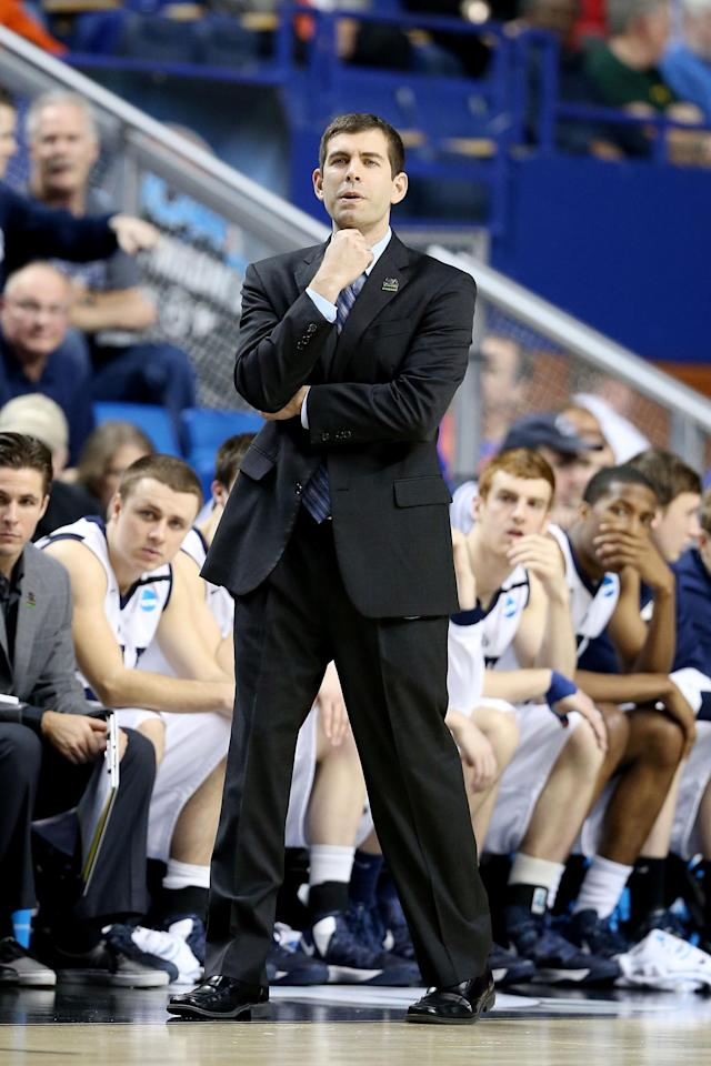 LEXINGTON, KY - MARCH 21: Head Coach Brad Stevens of the Butler Bulldogs watches play against the Bucknell Bison in the first half during the second round of the 2013 NCAA Men's Basketball Tournament at the Rupp Arena on March 21, 2013 in Lexington, Kentucky. (Photo by Andy Lyons/Getty Images)