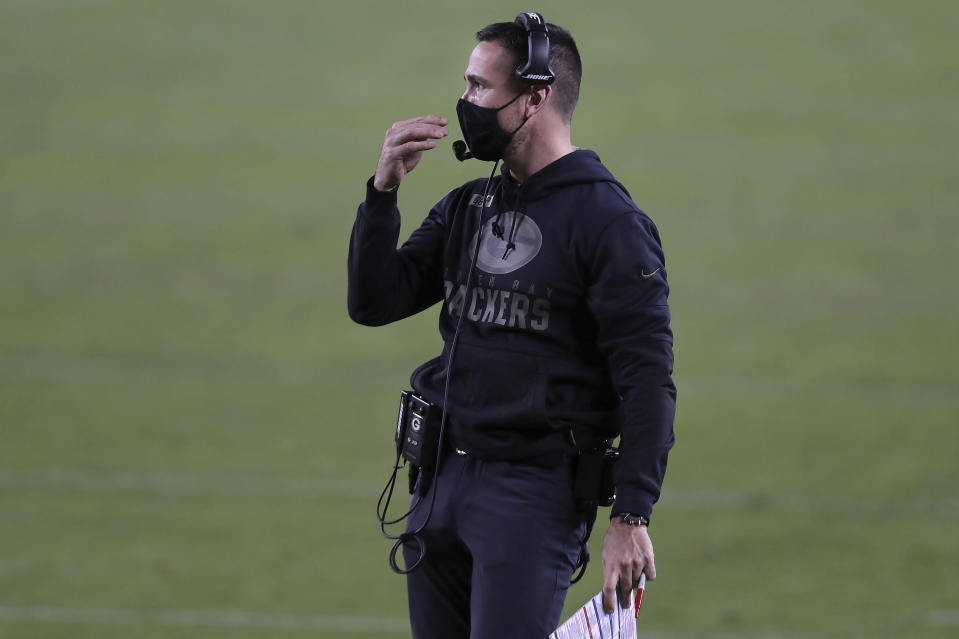 Green Bay Packers head coach Matt LaFleur watches during the second half of an NFL football game between the San Francisco 49ers and the Packers in Santa Clara, Calif., Thursday, Nov. 5, 2020. (AP Photo/Jed Jacobsohn)