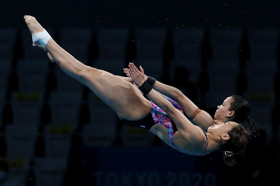 Malaysian divers Leong Mun Yee and Pandelela Rinong during the women's synchronised 10m platform final at the 2020 Tokyo Olympics.