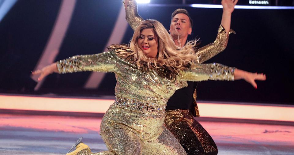 Collins with Matt Evers during their Dancing on Ice stint. (REX/Shutterstock)