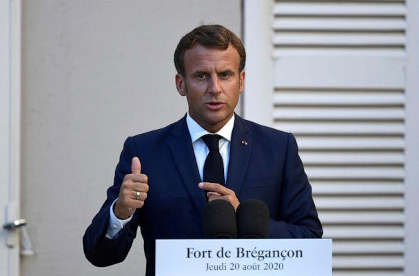 PHOTO: French President Emmanuel Macron speaks at a press conference after a meeting with German Chancellor Angela Merkel at Fort de Bregancon in Bormes-les-Mimosas, France, Aug. 20, 2020. (Christophe Simon/Reuters, FILE)