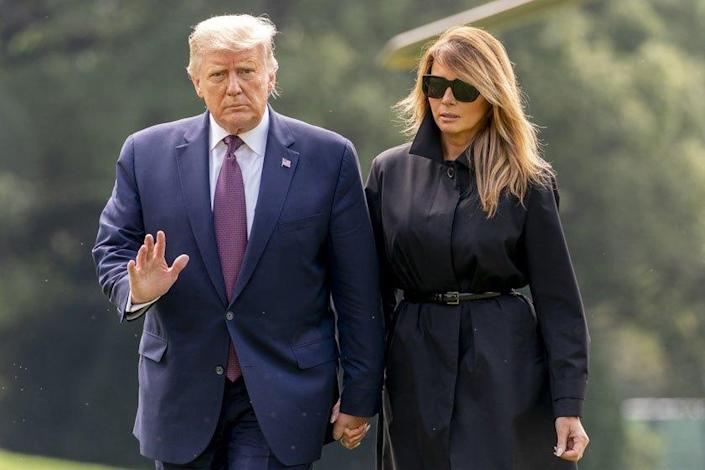 "President Trump and First Lady Melania Trump arrive at the White House on Sept. 11. <span class=""copyright"">(Associated Press)</span>"