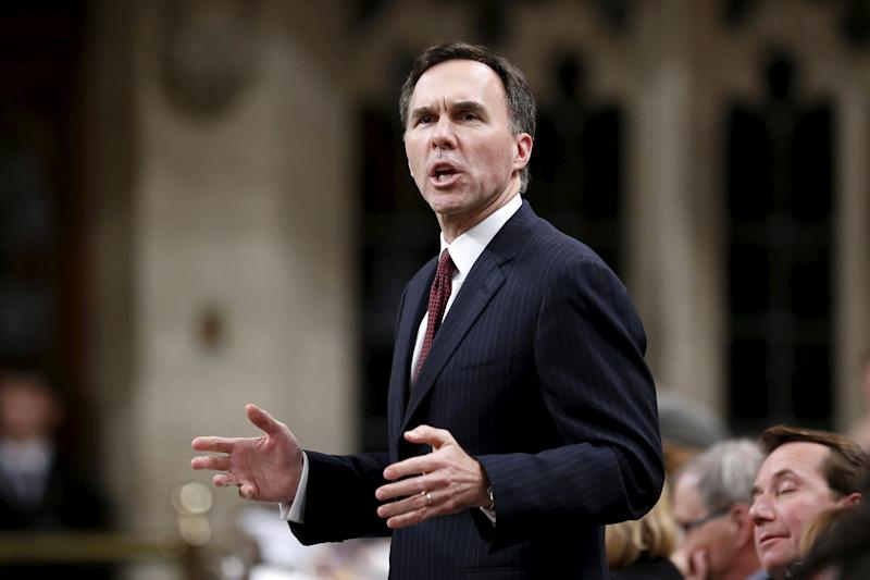 Canada's Finance Minister Morneau speaks in the House of Commons on Parliament Hill in Ottawa