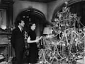 <p>The co-stars decorate a Christmas tree on the set of their film <em>The Bishop's Wife</em> in 1947.</p>