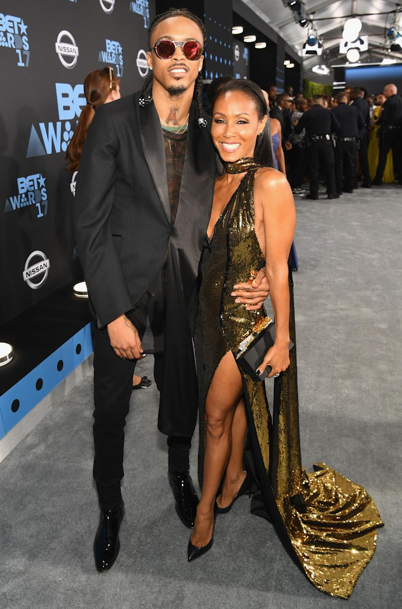LOS ANGELES, CA - JUNE 25: August Alsina (L) and Jada Pinkett Smith at the 2017 BET Awards at Staples Center on June 25, 2017 in Los Angeles, California. (Photo by Paras Griffin/Getty Images for BET)