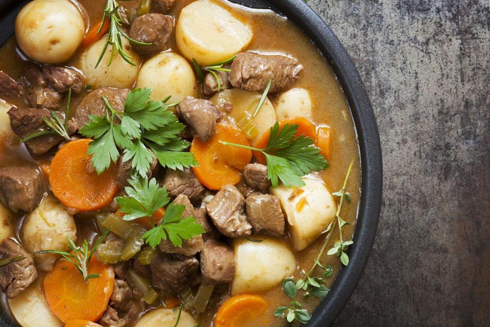"""<p>March is still chilly, so warm up with a classic Irish stew. You can even make some in a slow-cooker, so you can go about celebrating before sitting down for perfectly-cooked meal. </p><p><strong>RELATED:</strong> <a href=""""https://www.goodhousekeeping.com/holidays/g981/st-patricks-day-food/"""" rel=""""nofollow noopener"""" target=""""_blank"""" data-ylk=""""slk:60 Best St. Patrick's Day Food Ideas for the Ultimate Irish Feast"""" class=""""link rapid-noclick-resp"""">60 Best St. Patrick's Day Food Ideas for the Ultimate Irish Feast</a></p>"""