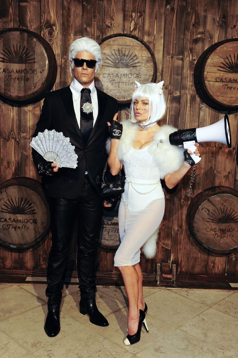 <p>Josh Duhammel and Fergie as Karl Lagerfeld and Choupette.</p>